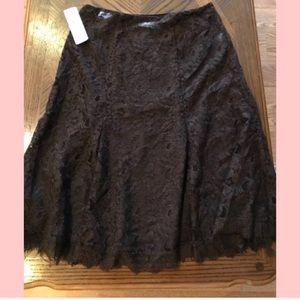 LAUREN Ralph Lauren Chocolate Brown Lace Skirt